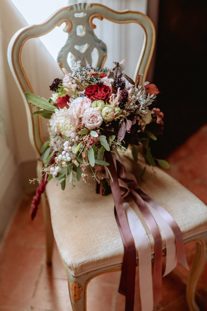 Bouquet burgundy and pale pink